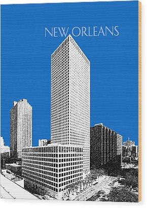 New Orleans Skyline - Blue Wood Print by DB Artist