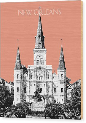 New Orleans Skyline Jackson Square - Salmon Wood Print by DB Artist