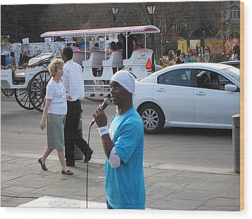 New Orleans - Street Performers - 12126 Wood Print by DC Photographer
