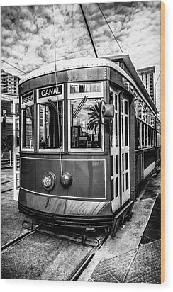 New Orleans Streetcar Black And White Picture Wood Print by Paul Velgos