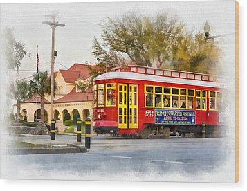 New Orleans Streetcar Paint Wood Print by Steve Harrington