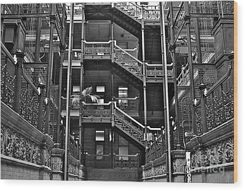 New Photographic Art Print For Sale Bradbury Building Downtown La Wood Print by Toula Mavridou-Messer