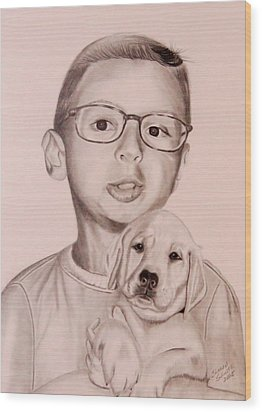Wood Print featuring the drawing New Puppy by Sharon Schultz