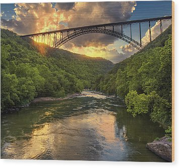 New River Evening Glow Wood Print by Mary Almond