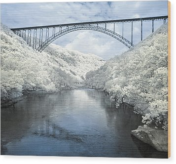 New River Gorge Bridge In Infrared Wood Print by Mary Almond