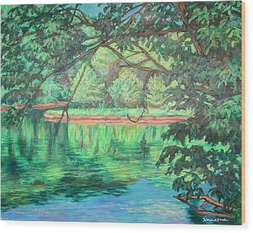 New River Reflections Wood Print by Kendall Kessler