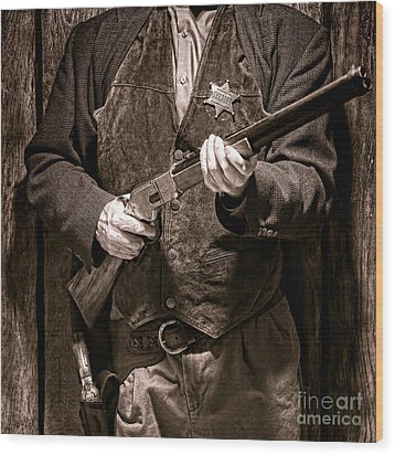 New Sheriff In Town  Wood Print by Olivier Le Queinec