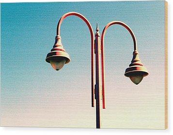 Beach Lamp Post Wood Print by Valerie Reeves