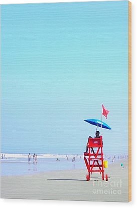 New Smyrna Lifeguard Wood Print by Valerie Reeves