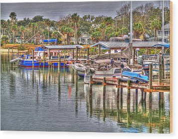 New Smyrna Marina Wood Print