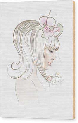 Wood Print featuring the drawing New Star by Anna Ewa Miarczynska