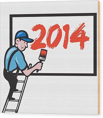 New Year 2014 Painter Painting Billboard Wood Print by Aloysius Patrimonio