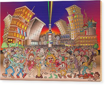 New Year City Wood Print by Paul Calabrese
