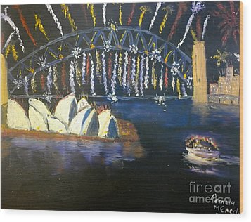 Wood Print featuring the painting New Year Eve On Sydney Harbour by Pamela  Meredith