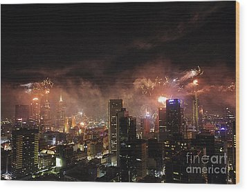 New Year Fireworks Wood Print