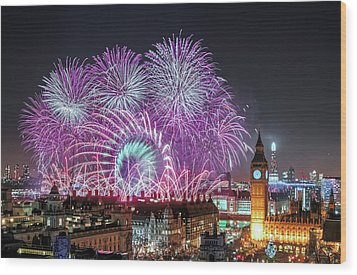 New Year Fireworks Wood Print by Stewart Marsden