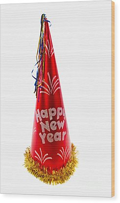 Happy New Year Party Hat Wood Print by Vizual Studio