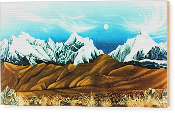 New Years Moonrise Qver Cojata Peru Bolivian Frontier Wood Print