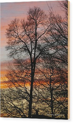 Wood Print featuring the photograph New Years Sunset by Tannis  Baldwin