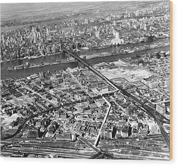 New York 1937 Aerial View  Wood Print by Underwood Archives