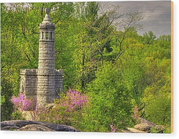 New York At Gettysburg - Monument To 12th / 44th Ny Infantry Regiments-1a Little Round Top Spring Wood Print by Michael Mazaika