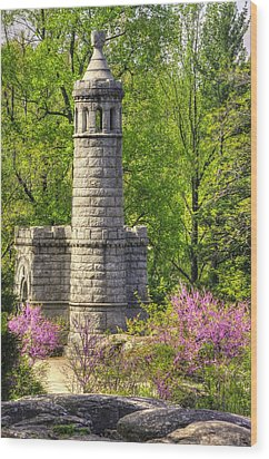 New York At Gettysburg - Monument To 12th / 44th Ny Infantry Regiments-2a Little Round Top Spring Wood Print by Michael Mazaika