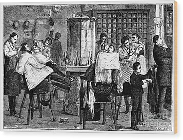 New York: Barbershop, 1882 Wood Print by Granger