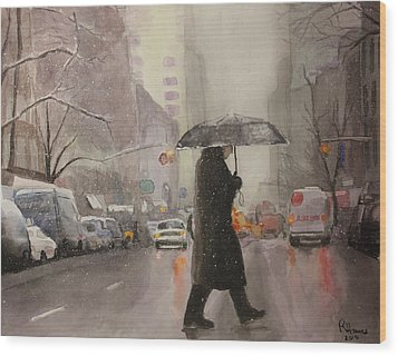 Wood Print featuring the painting New York Chill by Rachel Hames