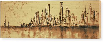 New York City Skyline 79 - Water Color Panorama Wood Print