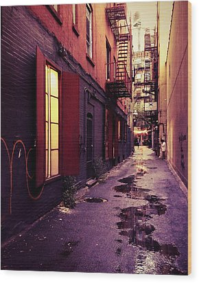 New York City Alley Wood Print by Vivienne Gucwa