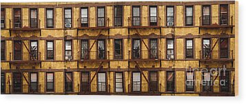 New York City Apartment Building Study Wood Print by Amy Cicconi
