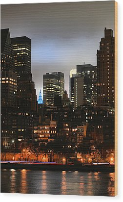 New York City Blue Wood Print by JC Findley