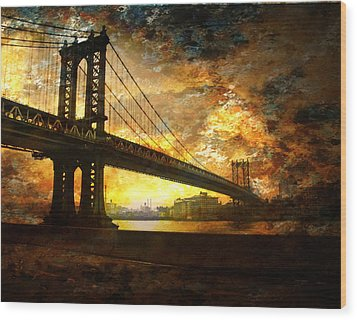 New York City Bridge Wood Print