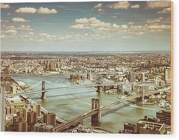 New York City - Brooklyn Bridge And Manhattan Bridge From Above Wood Print by Vivienne Gucwa