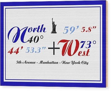 New York City Coordinates Wood Print by Art Photography