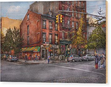 New York - City - Corner Of One Way And This Way Wood Print by Mike Savad