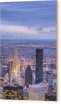 New York City Evening Wood Print by Mark E Tisdale