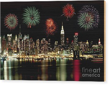 New York City Fourth Of July Wood Print by Anthony Sacco