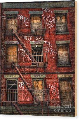 New York City Graffiti Building Wood Print by Amy Cicconi