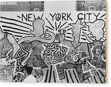 New York City Graffiti Wood Print by Dave Beckerman