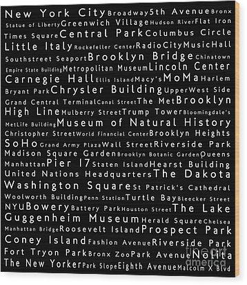 New York City In Words Black Wood Print