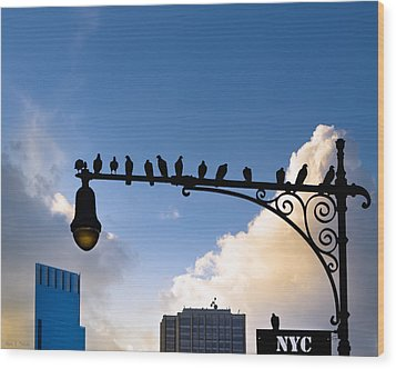 New York City Is For The Birds Wood Print by Mark E Tisdale