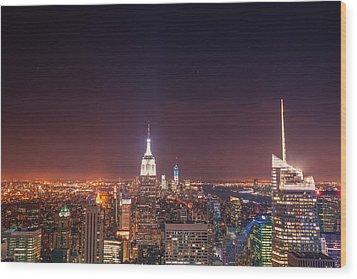 New York City Lights At Night Wood Print by Vivienne Gucwa