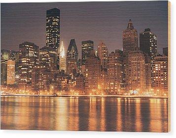 New York City Lights - Skyline At Night Wood Print by Vivienne Gucwa