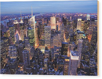 New York City Manhattan Times Square Night Wood Print
