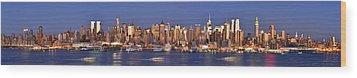 New York City Midtown Manhattan At Dusk Wood Print by Jon Holiday