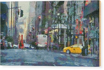 New York City Morning In The Street Wood Print by Dan Sproul