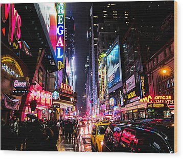 New York City Night Wood Print by Nicklas Gustafsson