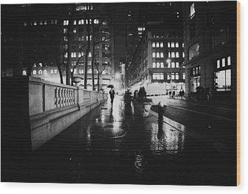 New York City - Night Rain Wood Print by Vivienne Gucwa