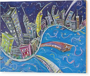 New York City Nights Wood Print